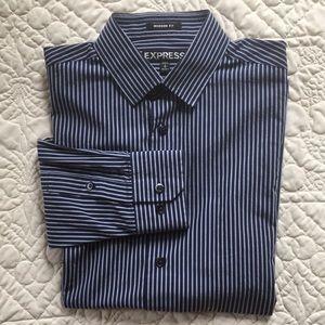 Men's Express Navy Casual Button Down Shirt size S